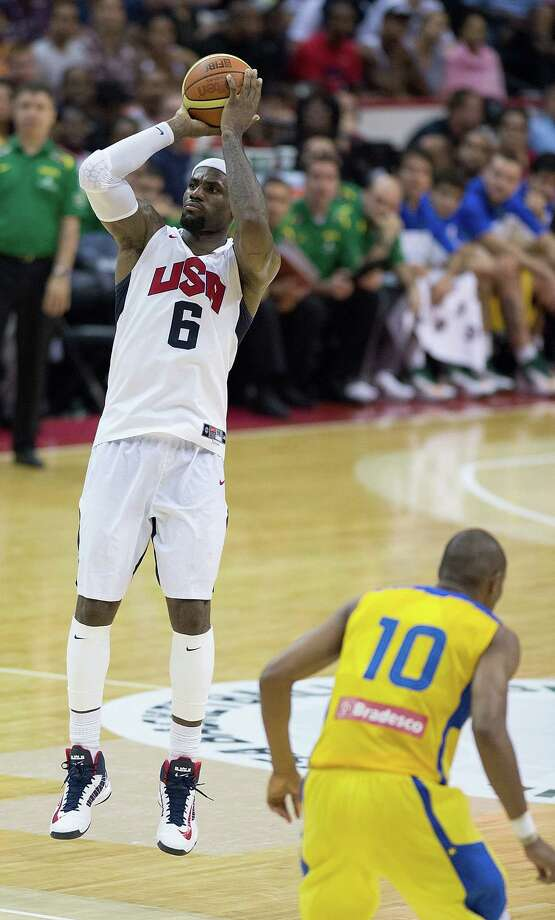 USA's LeBron James (6) hits a three-point shot late in the game against Brazil during the second half of their exhibition game at the Verizon Center in Washington, D.C., Monday, July 16, 2012. USA defeated Brazil 80-69. (Harry E. Walker/MCT) Photo: Harry E. Walker, McClatchy-Tribune News Service / MCT