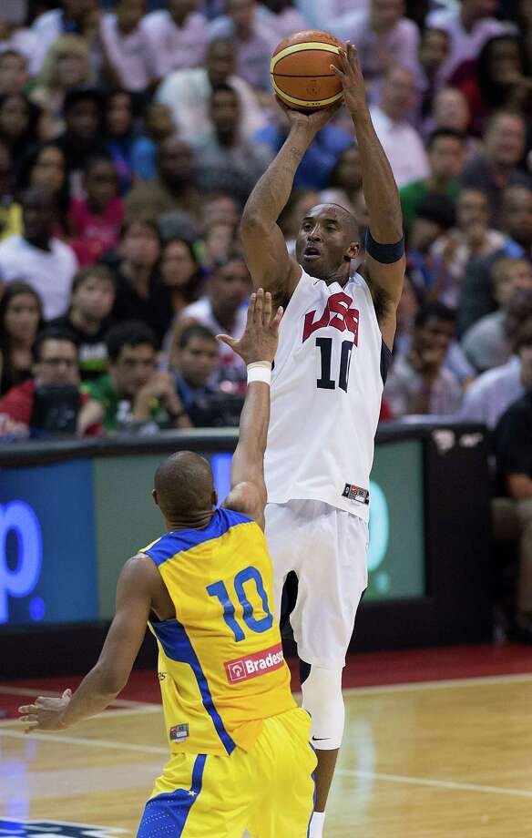 USA's Kobe Bryant (10) shoots over Brazil's Leandro Barbosa (10) during the second half of their exhibition game at the Verizon Center in Washington, D.C., Monday, July 16, 2012. USA defeated Brazil 80-69. (Harry E. Walker/MCT) Photo: Harry E. Walker, McClatchy-Tribune News Service / MCT