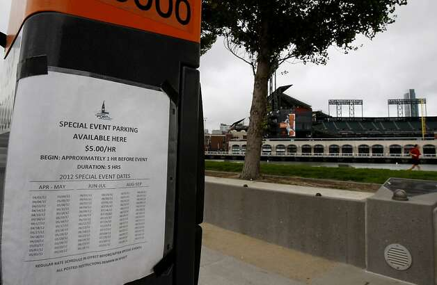 "These ""pay by number"" spaces on Terry Francois Street already have special event parking and rates posted. Parking meters near AT&T park may increase their hours and their hourly rates on special event days if the City of San Francisco gets its way. Photo: Brant Ward, The Chronicle"