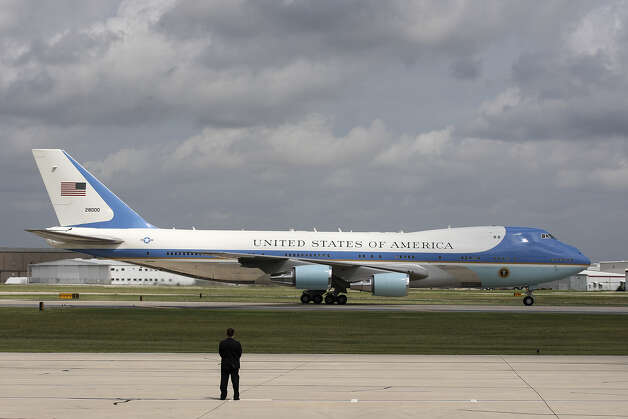 Aboard Air Force One, U.S. President Barack Obama arrives at San Antonio International Airport, Tuesday, July 17, 2012. Obama is attending two fundraising events, one at the Convention Center and another one at a private residence in the Dominion. Photo: Jerry Lara, San Antonio Express-News / © 2012 San Antonio Express-News