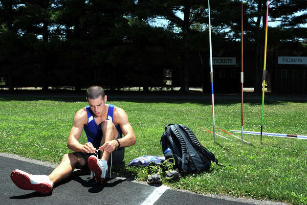 Javelin thrower Craig Kinlsey, of Fairfield, prepares for practice at Brown University, in Providence, RI., July 10th, 2012. Kinley is going to London as a member of the U.S. Olympic team. Photo: Ned Gerard / Connecticut Post