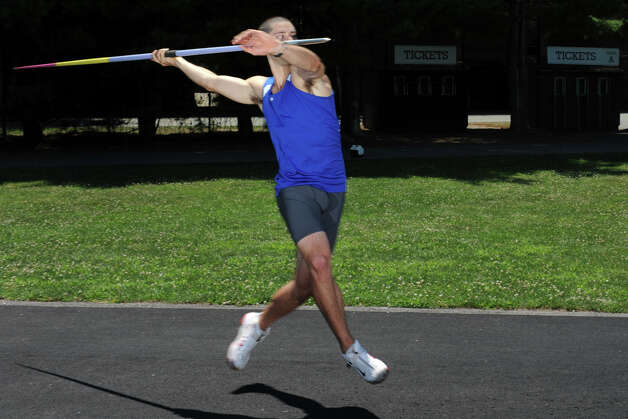 Javelin thrower Craig Kinlsey, of Fairfield, practices at Brown University, in Providence, RI., July 10th, 2012. Kinley is going to London as a member of the U.S. Olympic team. Photo: Ned Gerard / Connecticut Post