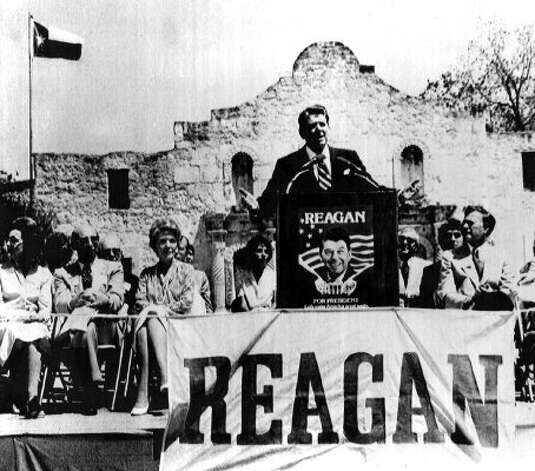 Republican presidential candidate Ronald Reagan addresses a crowd of more 2,000 in front of the Alamo in San Antonio. Reagan's wife, Nancy is third from the left, April 18, 1980. (AP)