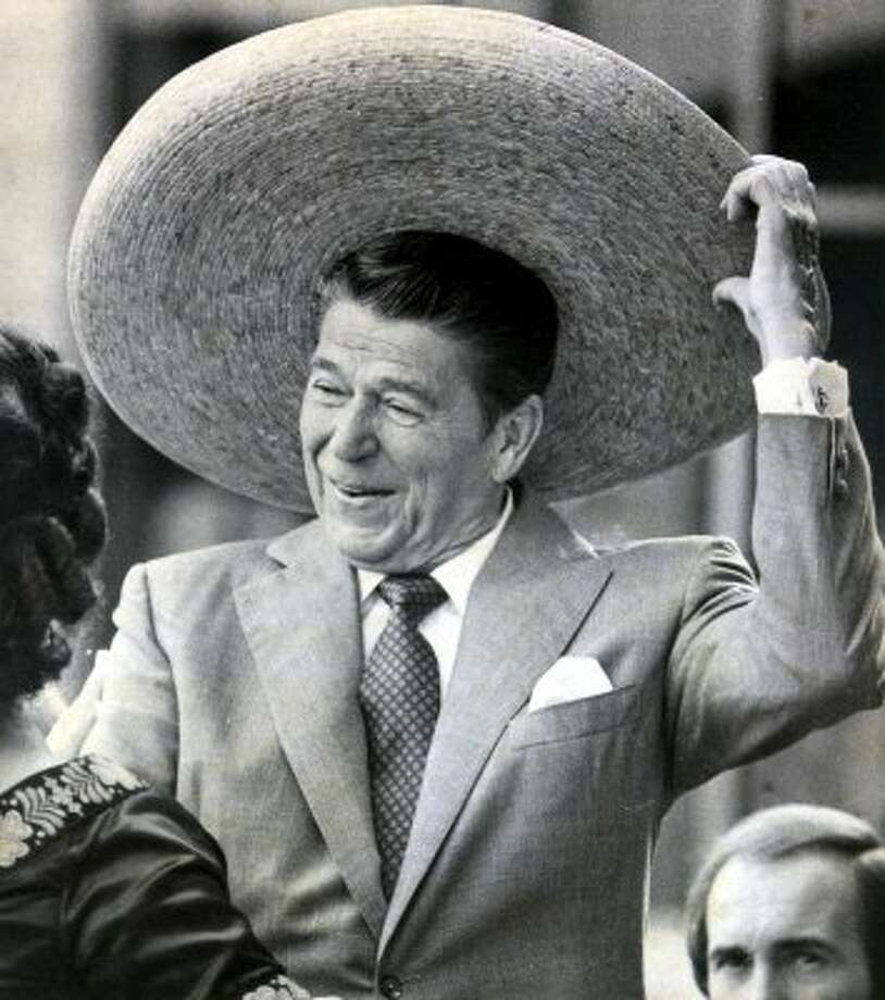 Then Republican presidential candidate Ronald Reagan dons a sombrero as his wife Nancy watches. Reagan brought his campaign to San Antonio and had joined with local residents in the celebration of Mexican Independence Day, September 16, 1980.