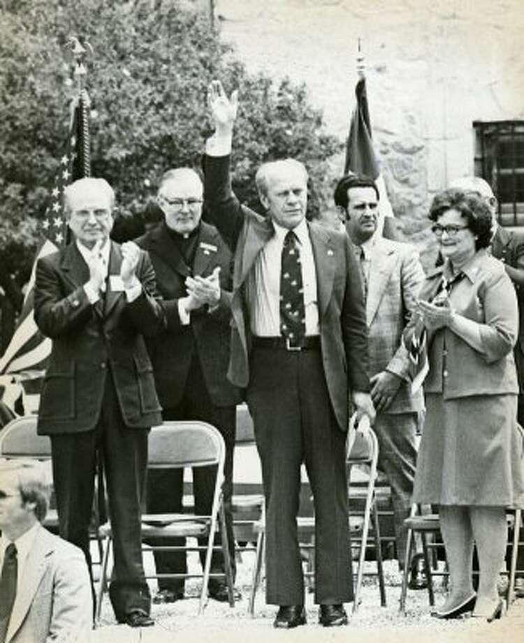 Gerald Ford, alongside former San Antonio Mayor Lila Cockrell, April 9, 1976. (JOHN G TARSIKES / Express-News file photo)
