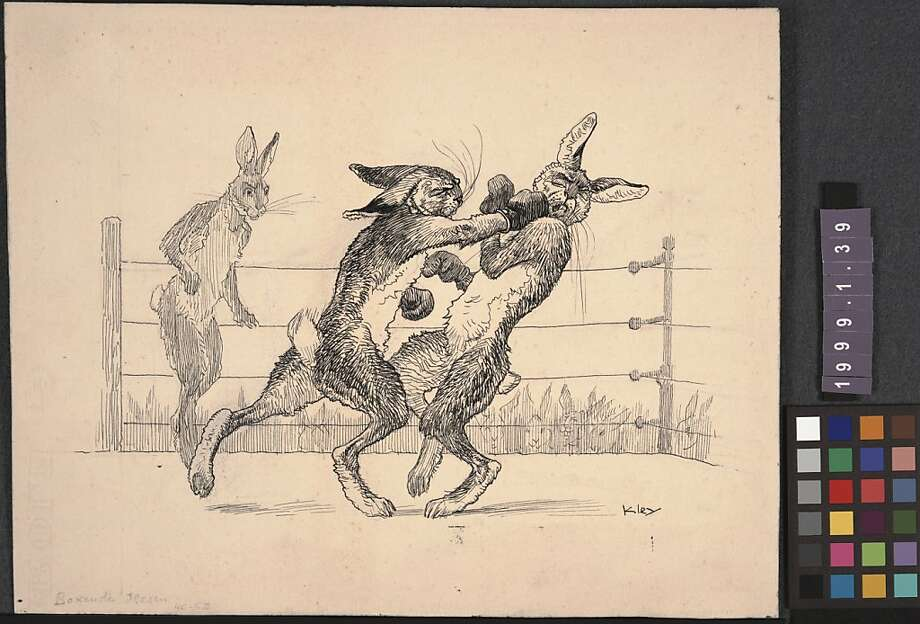 1. Heinrich Kley (German, 1863-1945), Boxende Hasen; ink on paper; from the collection of The Walt Disney Family Foundation Photo: Heinrich Kley, Walt Disney Family Foundation