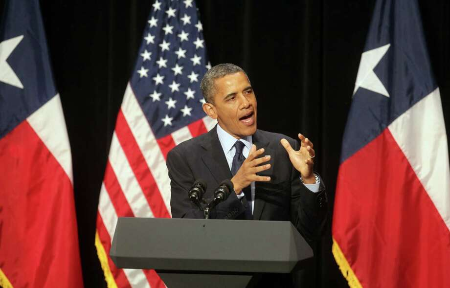 President Barack Obama speaks at a fund raiser in San Antonio, TX, at the Henry B. Gonzalez Convention Center, July 17, 2012. Photo: Bob Owen / © 2012 San Antonio Express-News