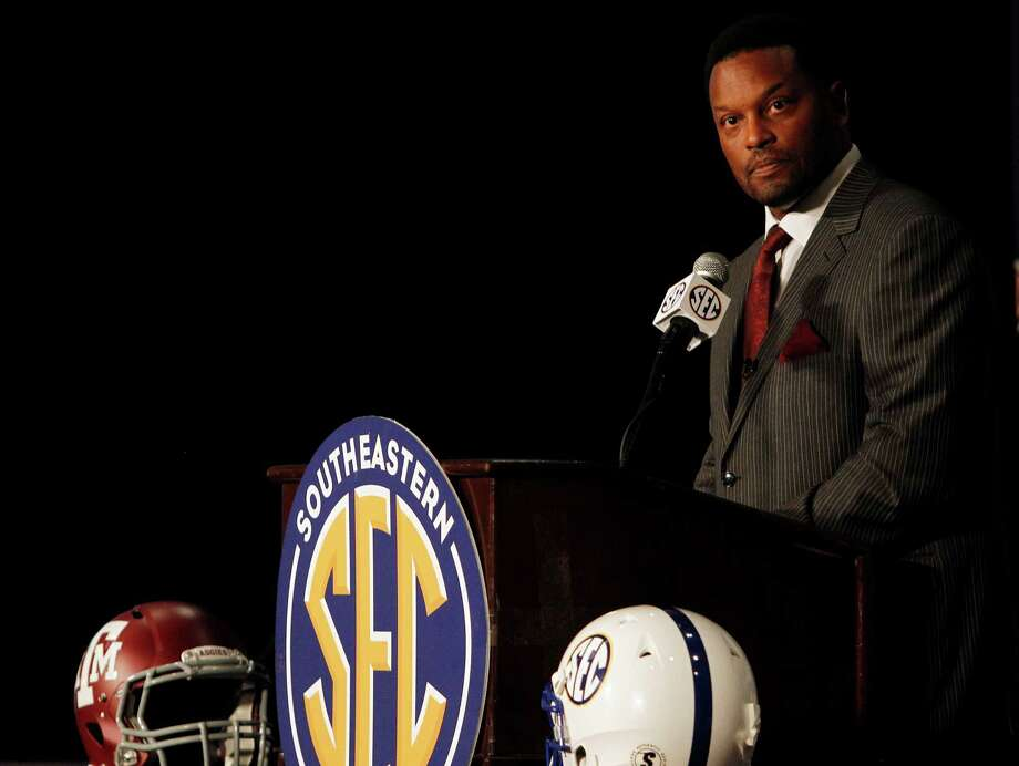 Texas A&M coach Kevin Sumlin speaks to the media at the Southeastern Conference NCAA college football media day in Hoover, Ala. on Tuesday, July 17, 2012. Photo: AP