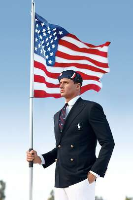 FILE - This product image released by Ralph Lauren shows U.S. Olympic swimmer Ryan Lochte modeling the the official Team USA Opening Ceremony Parade Uniform. Republicans and Democrats railed Thursday,  July 12, 2012, about the U.S. Olympic Committee's decision to dress the U.S. team in Chinese manufactured berets, blazers and pants while the American textile industry struggles economically with many U.S. workers desperate for jobs. (AP Photo/Ralph Lauren, File)