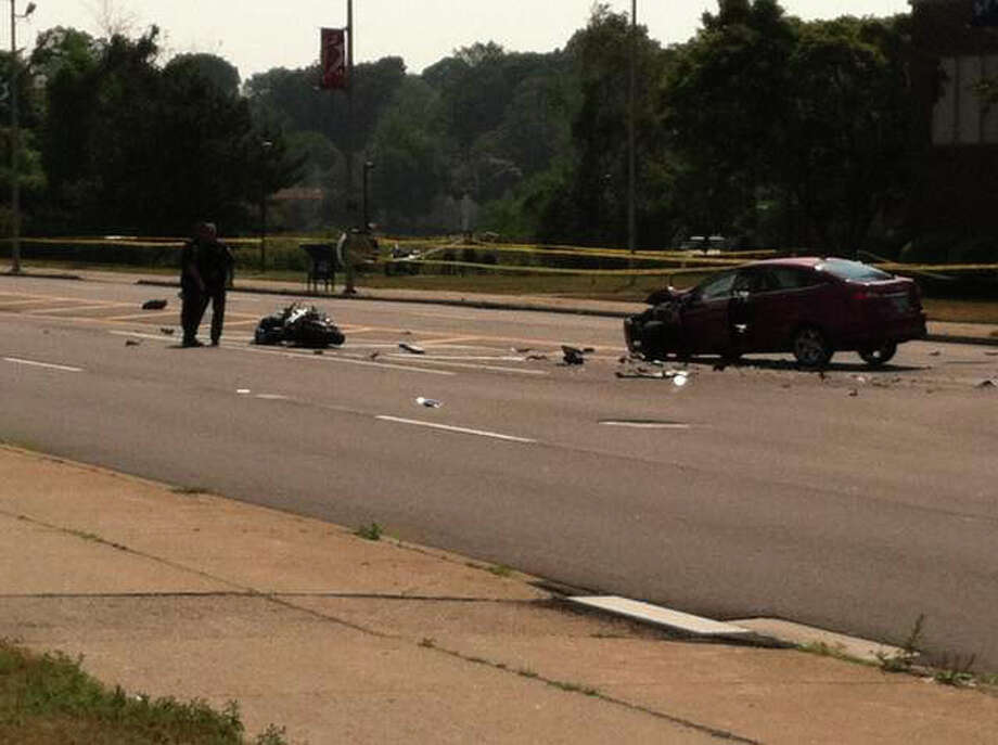 A 21-year-old West Haven man was killed in a motorcycle-car crash on Captain Thomas Boulevard on Tuesday, July 17, 2012. Michael Finch died after his motorcycle was struck by a car as he turned onto the road. Photo: Contributed