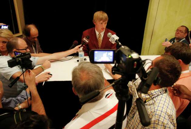 Texas A&M wide receiver Ryan Swope speaks to the media at the Southeastern Conference NCAA college football media day in Hoover, Ala. on Tuesday, July 17, 2012. Photo: AP