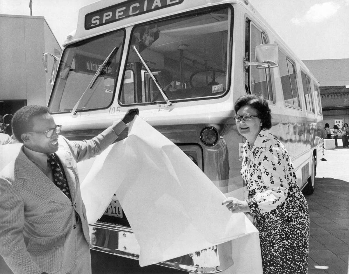 In 1948, the San Antonio Transit Company began operation of air-conditioned buses. Pictured is Chairman of the San Antonio Transit System Murrene Gilford (L) and then Mayor of San Antonio Lila Cockrell, June 27, 1975.