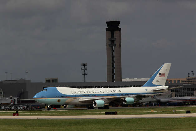 U.S. President Barack Obama aboard Air Force One arrives at San Antonio International Airport, Tuesday, July 17, 2012. Obama is attending two fundraising events, one at the Convention Center and another one at a private residence in the Dominion. Photo: Jerry Lara, San Antonio Express-News / © 2012 San Antonio Express-News