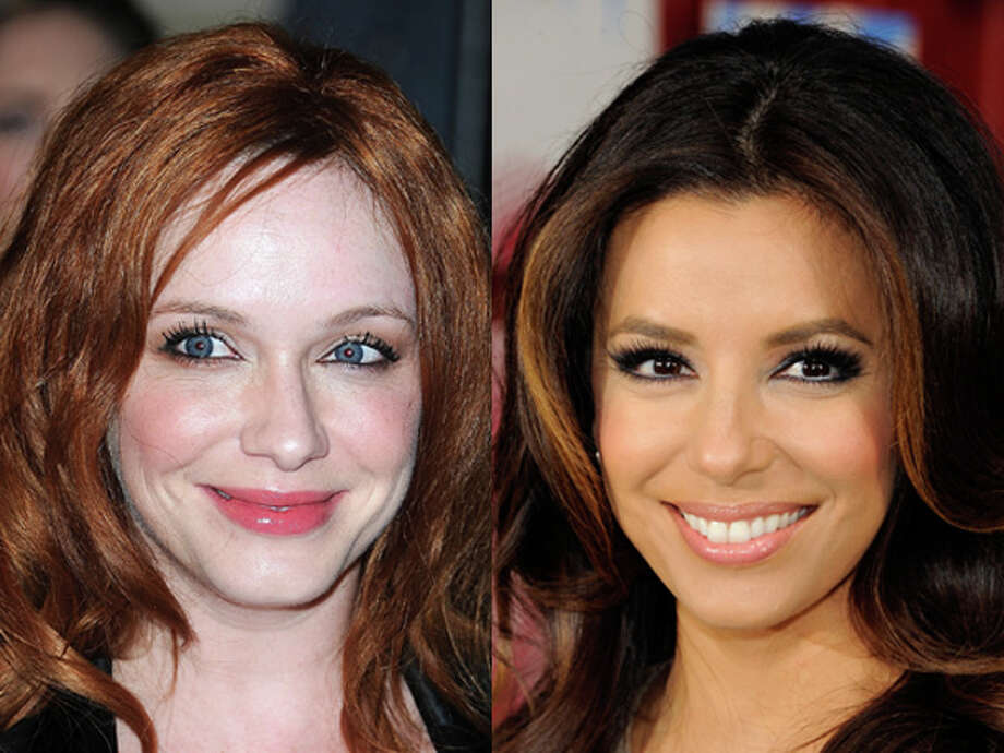 "It must be the TV roles they've played. ""Mad Men"" bombshell Christina Hendricks and ""Desperate Housewives"" star Eva Longoria were both born in 1975. Photo: Wire"