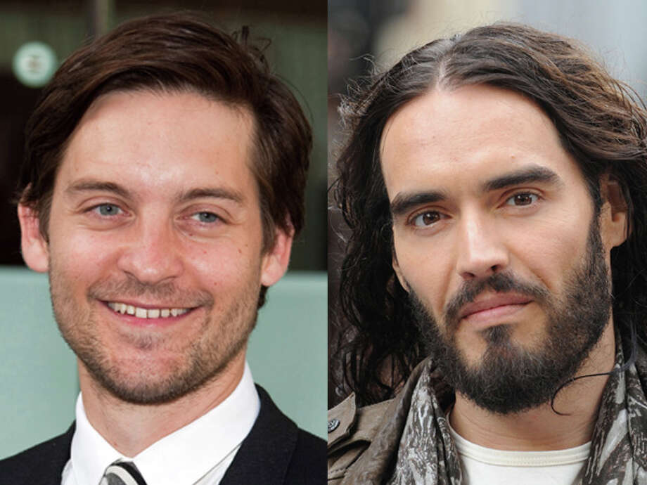 "Why does scruffy original ""Spider-Man"" star Tobey Maguire look so much younger than comedian Russell Brand? They're both products of 1975. Photo: Wire"