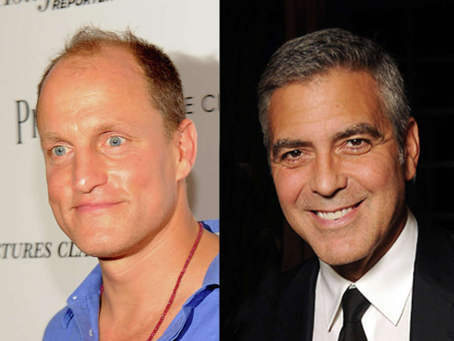 Maybe it's the casual look versus the suit, but it's hard to believe Woody Harrelson and George Clooney are both 1961 babies. Photo: Wire