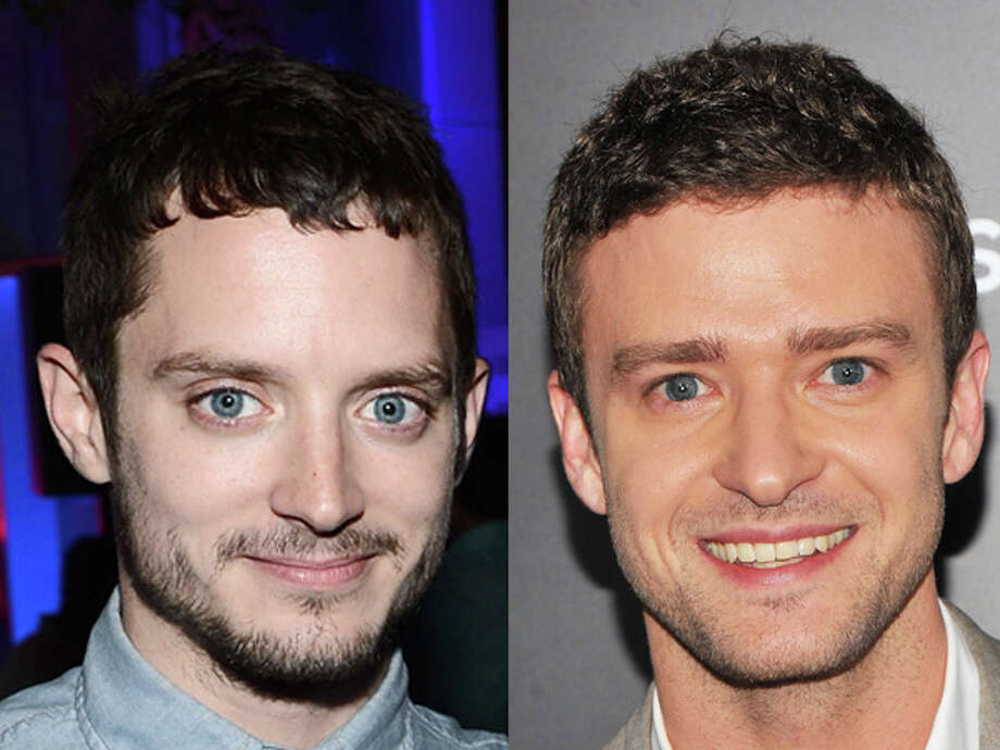 "Maybe Elijah Wood's been kept up all night by barking ""Wilfred,"" while Justin Timberlake looks fresh from a boy band. Both were born in 1981, Photo: Wire"