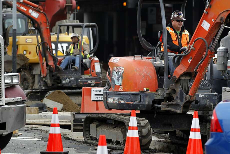 Heavy equipment  in place for the construction of the Central Subway project through downtown San Francisco, Calif., along Fourth Street, between Harrison and Bryant Streets, on Friday July 13, 2012. Photo: Michael Macor, The Chronicle