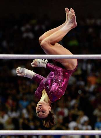 SAN JOSE, CA - JULY 01:  McKayla Maroney competes on the uneven bars during day 4 of the 2012 U.S. Olympic Gymnastics Team Trials at HP Pavilion on July 1, 2012 in San Jose, California.  (Photo by Ronald Martinez/Getty Images) Photo: Ronald Martinez, Getty Images / 2012 Getty Images