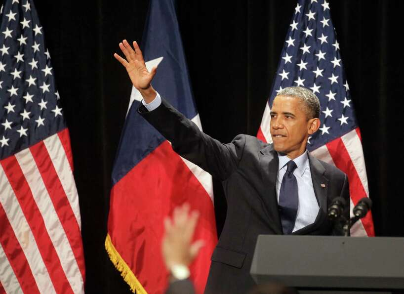 President Barack Obama speaks at a fund raiser in San Antonio, TX, at the Henry B. Gonzalez Conventi