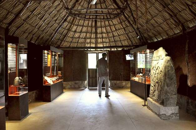 "Inside the ""Cocoa & the Mayas"" hut. Cocoa was signficant to the Maya not only as a commodity, but also in their spiritual life. Photo: Christine Delsol, Special To SFGate"