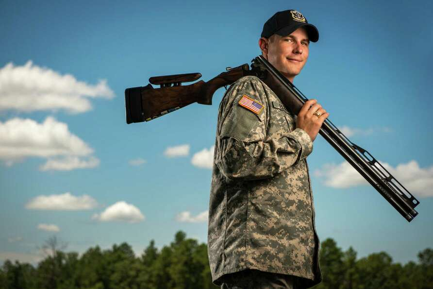 Sgt. Glenn Eller, the 2008 Olympic gold medalist in double trap shooting, is photographed at Fort Be