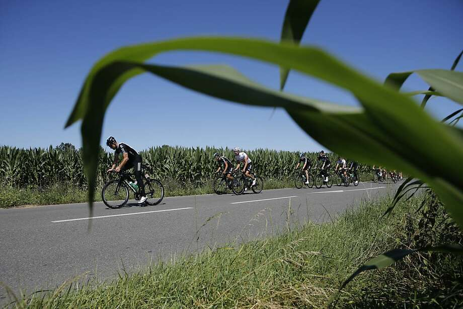 Team Sky with Bradley Wiggins of Britain trains on the rest day of the Tour de France cycling race in Pau, France, Tuesday July 17, 2012. (AP Photo/Laurent Cipriani) Photo: Laurent Cipriani, Associated Press