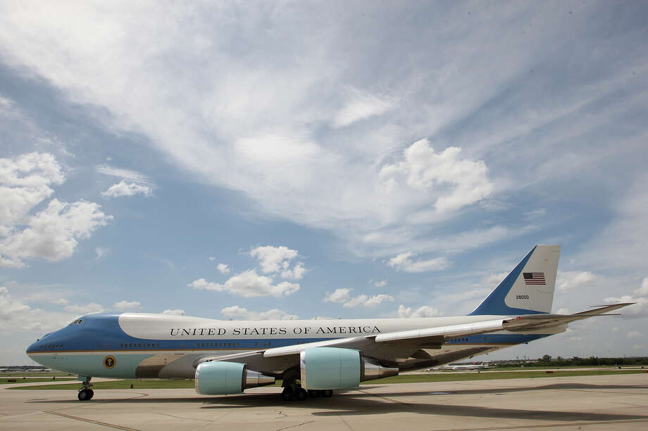 Air Force One taxis to the runway at San Antonio International Airport, Tuesday, July 17, 2012. Presdient Barack Obama attended two fundraising events, one at the Convention Center and another one at a private residence in the Dominion. He was headed to Austin after his San Antonio visit. Photo: Jerry Lara, San Antonio Express-News / © 2012 San Antonio Express-News