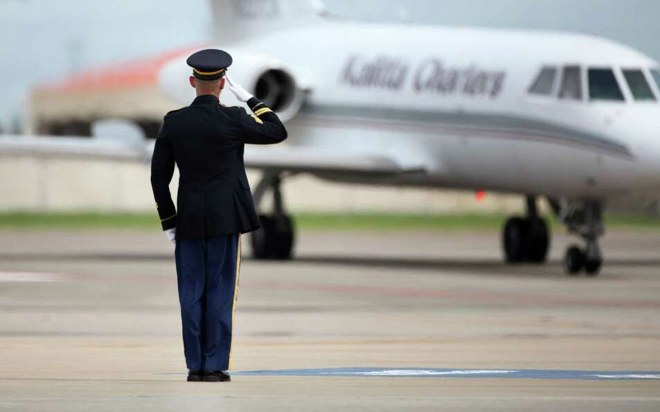 The remains of Staff Sgt. Ricardo Seija arrive at MacDill Air Force Base in Tampa, Fla. on Tuesday,