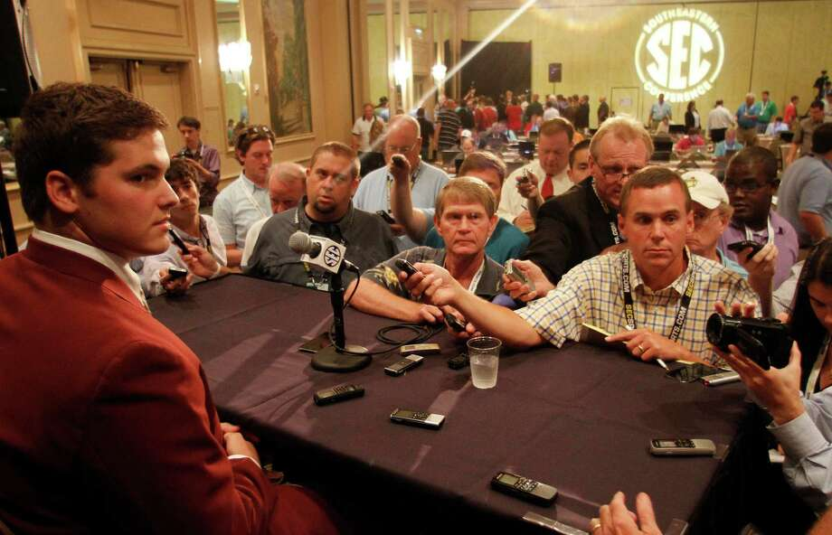 Texas A&M offensive tackle Luke Joeckel speaks to the media at the Southeastern Conference NCAA college football media day in Hoover, Ala. on Tuesday, July 17, 2012. Photo: Butch Dill, AP / FR111446 AP