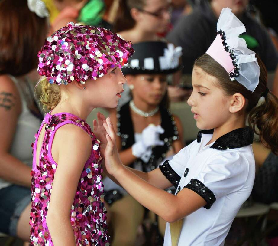Payton Messina, 7, of Ballston Spa and Maia Bianchi, 7, of Ballston Spa ready for the talent show at the 171st Saratoga County Fair in Ballston Spa Tuesday July 17, 2012.   (John Carl D'Annibale / Times Union) Photo: John Carl D'Annibale / 00018353A
