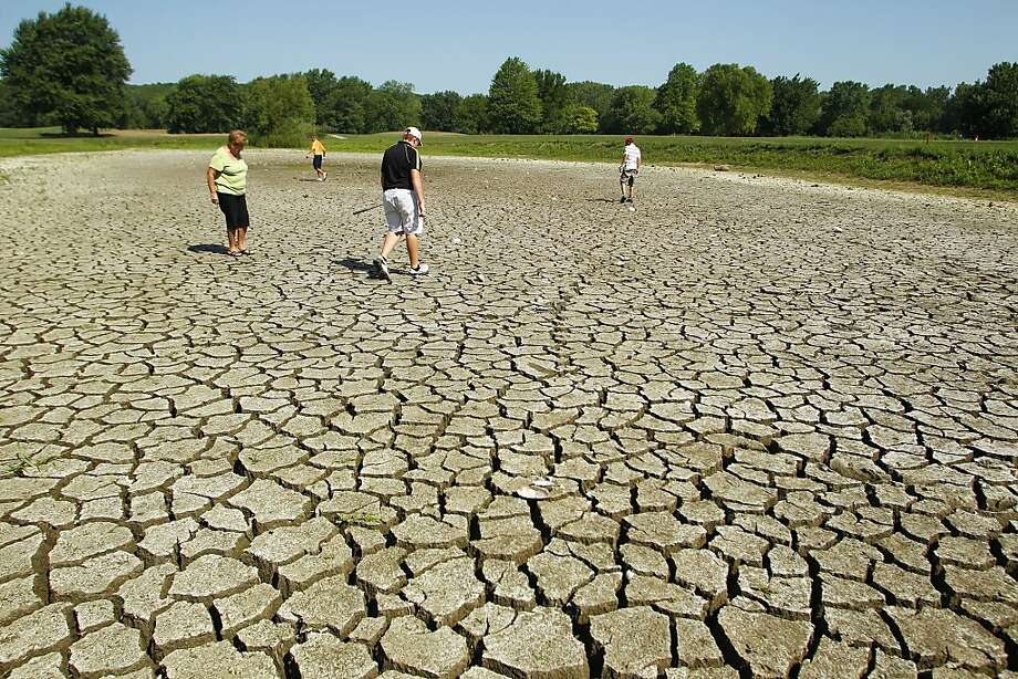 Golfers look for a ball in the bed of a dried up pond next to the fairway on No. 7 during the Junior City Golf Tournament Tuesday, July 17, 2012, at Lafayette Golf Course in Lafayette, Ind. The ball disappeared in a deep crack in the parched soil of the former water hazzard. (AP Photo/Journal & Courier, John Terhune) Photo: John Terhune, Associated Press