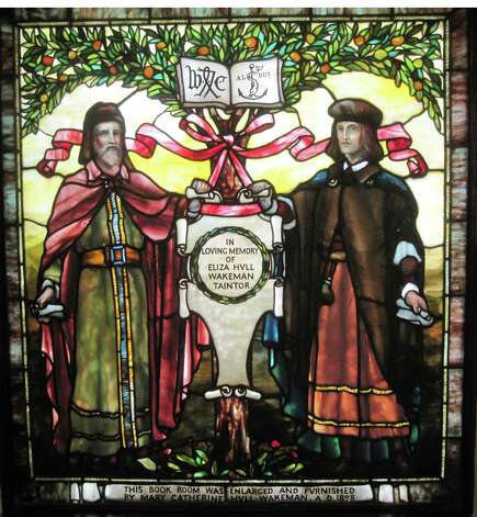 The largest of the Pequot's three Tiffany stained-glass windows features a pair of late-1400s, bibliophile rockstars ---William Caxton, left, who printed the first book in English, and Aldus Manutius, a Venetian who printed Greek and Latin classics. Photo: Contributed Photo / Fairfield Citizen contributed