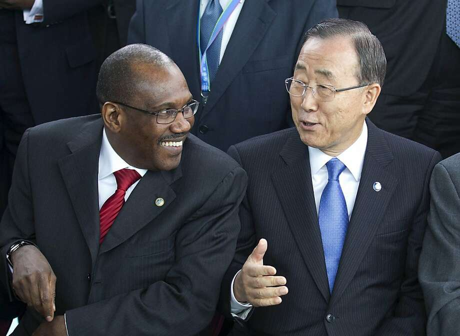 Hamadoun Toure, with Secretary General Ban Ki-moon in April, heads a U.N. panel looking at complaints about the Internet from Russia, China and Iran. Photo: Salvatore Di Nolfi, Associated Press