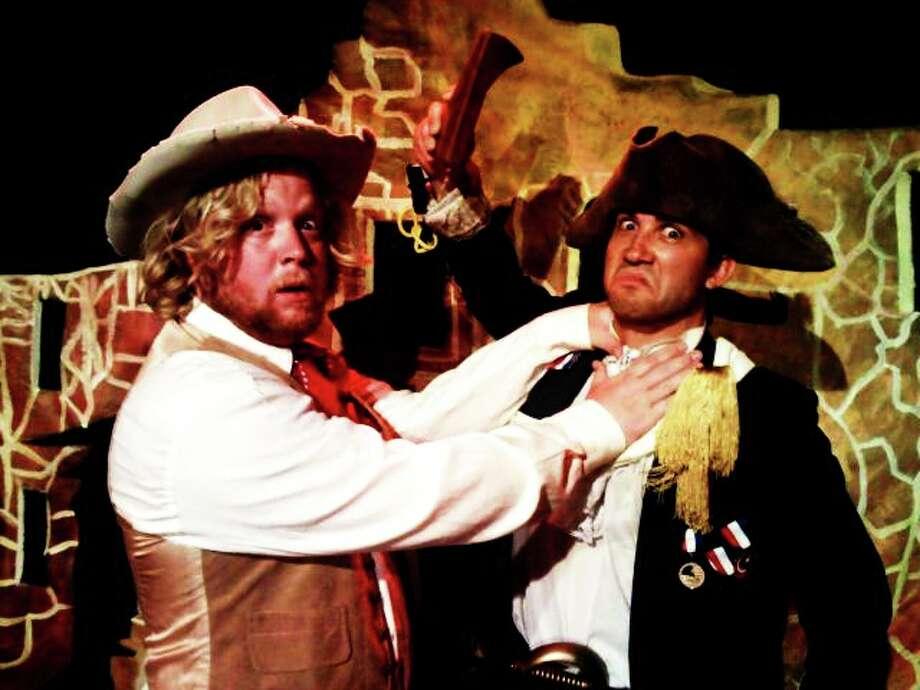 "Jim Bowie (Chris Manley, left) and William Travis (Trevor Anthony) come to blows in the Rose Theatre Company's ""The Real Story of the Alamo.""  Photo: Courtesy, Rose Theatre Company"