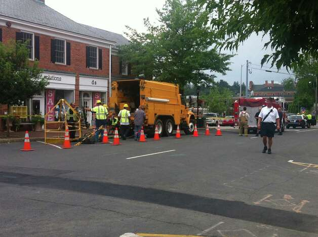 Emergency crews on scene of transformer explosions in downtown New Canaan Wednesday. Photo: Thomas Michael, Contributed Photo / New Canaan News contributed