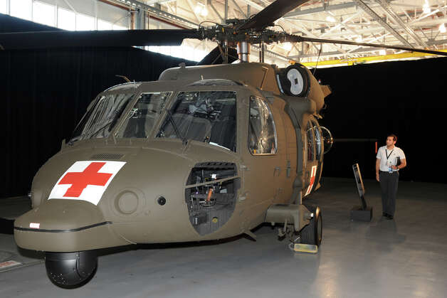 A medevac version of a H-60M Black Hawk helicopter on display during a ceremony at Sikorsky Aircraft, in Stratford, Conn. July 18th, 2012. The ceremony marked the delivery of the 500th H-60M Black Hawk to the Army. Photo: Ned Gerard / Connecticut Post