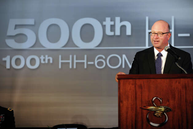 Sikorsky President Mick Maurer speaks during a ceremony at Sikorsky Aircraft, in Stratford, Conn. July 18th, 2012. The ceremony marked the delivery of the 500th H-60M Black Hawk helicopter to the Army. Photo: Ned Gerard / Connecticut Post
