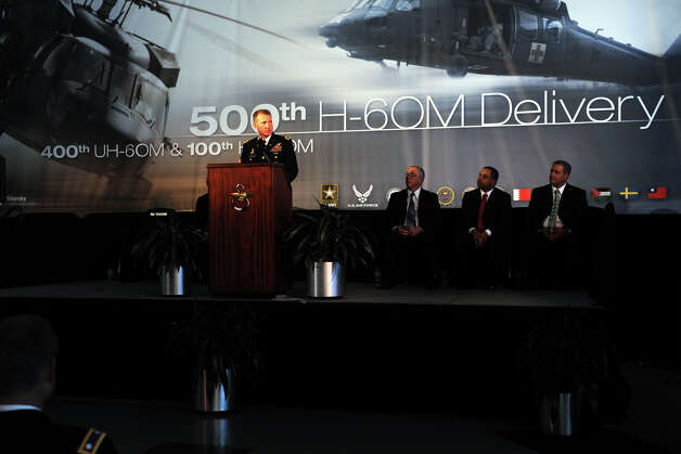 Colonel Thomas Todd, Project Manager for U.S. Army Utility Helicopters, speaks during a ceremony at Sikorsky Aircraft, in Stratford, Conn. July 18th, 2012. The ceremony marked the delivery of the 500th H-60M Black Hawk helicopter to the Army. Photo: Ned Gerard / Connecticut Post