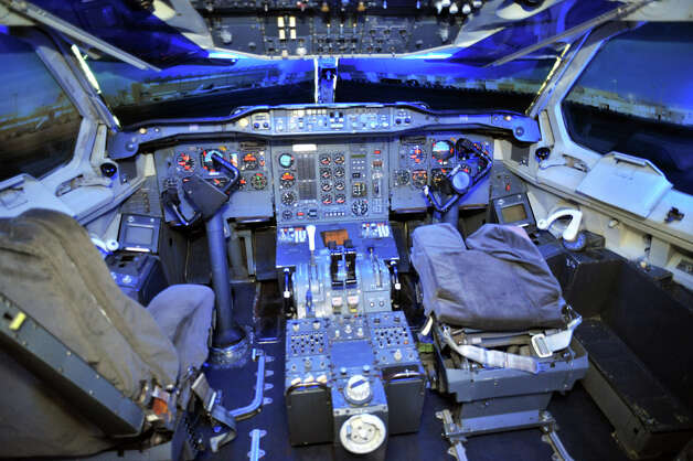 The flight deck of an Airbus A300B is shown at Aeroscopia, at Blagnac, France, airport. Photo: DAVID BECUS/Aeroscopia