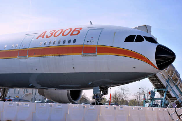 An Airbus A300B is shown at Aeroscopia, at Blagnac, France, airport. The wide-body A300 was Airbus' first airplane, entering service in 1974. Photo: DAVID BECUS/Aeroscopia
