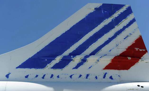 The tail of a Concorde test airplane Sierra Bravo is shown on July 18, 2012 at Blagnac airport, southern France. Photo: ERIC CABANIS, AFP/Getty Images / 2012 AFP