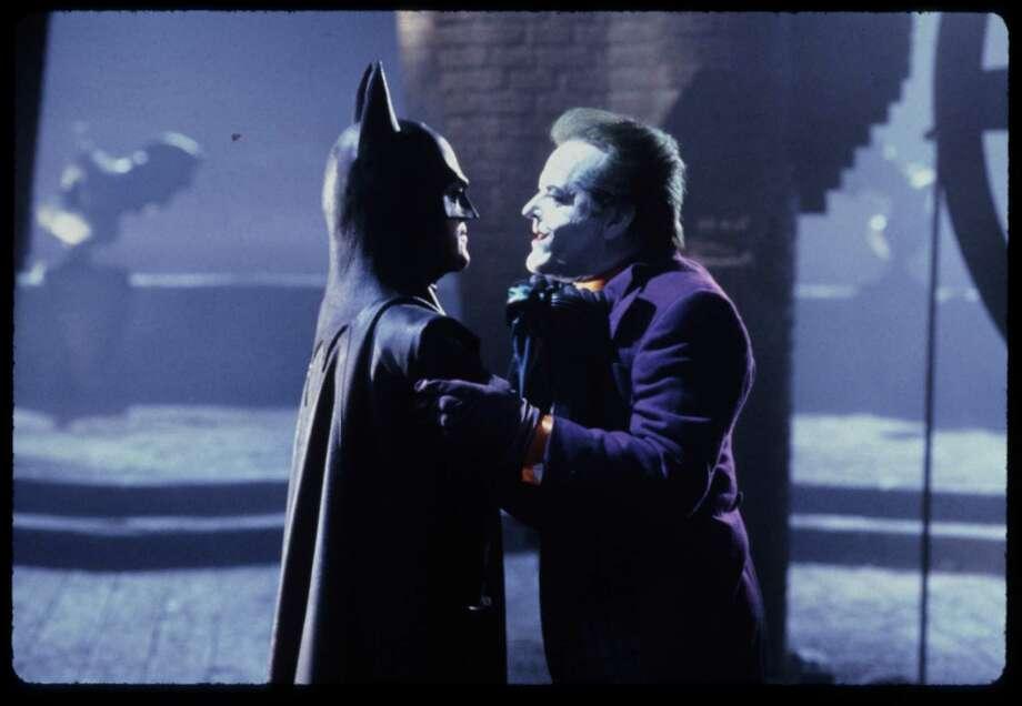 "Michael Keaton as Batman and Jack Nicholson as Joker in Tim Burton's ""Batman."" Photo: Warner Bros. / handout slide"