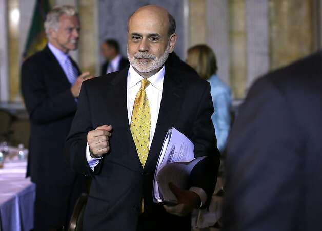 WASHINGTON, DC - JULY 18:  Federal Reserve Board Chairman Ben Bernanke leaves after a meeting of the Financial Stability Oversight Council (FSOC) July 18, 2012 at the Treasury Department in Washington, DC. Members of FSOC voted during the meeting on a report to Congress regarding a study of contingent capital required by the Dodd-Frank Act, and also voted on the Council's annual report.  (Photo by Alex Wong/Getty Images) Photo: Alex Wong, Getty Images
