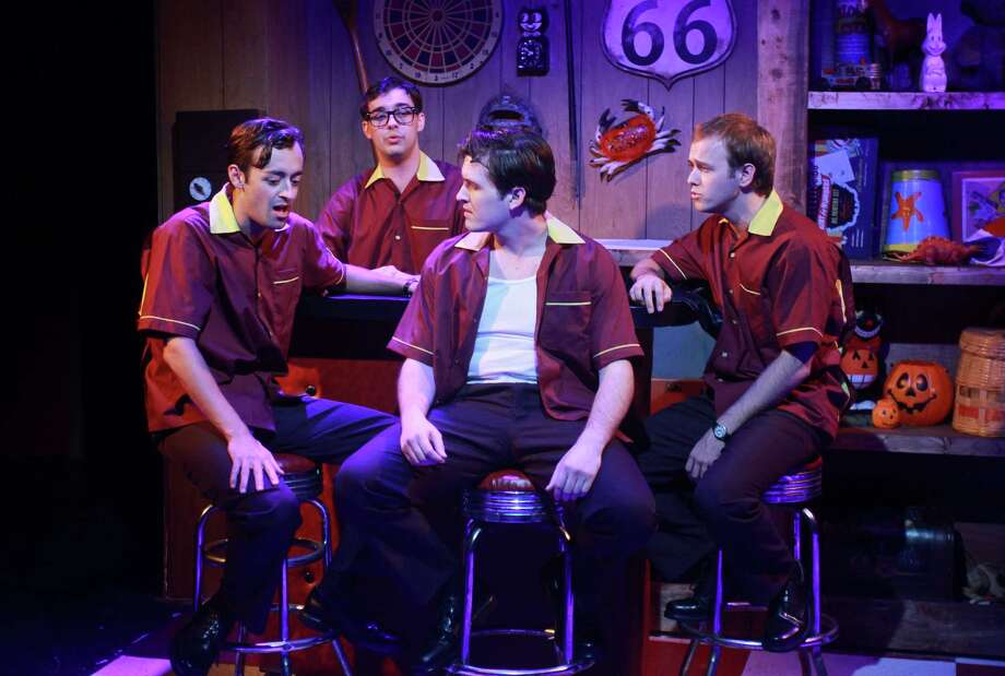 "Dylan Godwin, from left, Mark Ivy, Cameron Bautsch and Adam Gibbs perform in Stages' production of the nostalgic musical revue ""Life Could Be a Dream,"" about a teen ""guy group"" in the early 1960s. Photo: Gary Fountain / Copyright 2012 Gary Fountain."