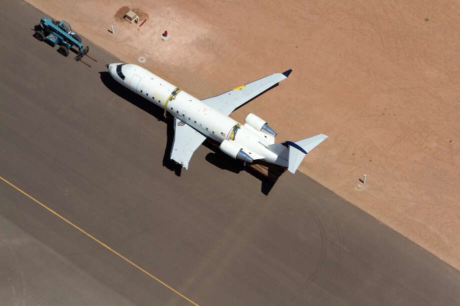 A SkyWest regional jet, like the one Brian Hedglin commandeered, is shown on the tarmac on Tuesday. Photo: AP