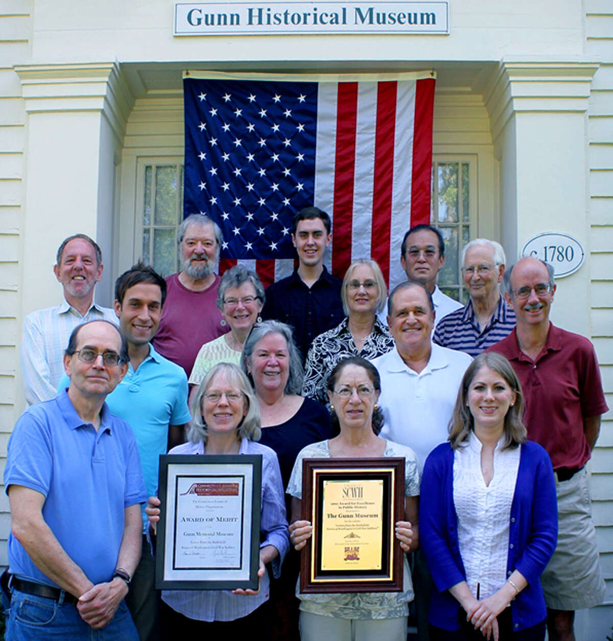 Among the many volunteers and Gunn Memorial Museum staff who assisted with Civil War commemoration are, fronmt row, from left to right, David Babington, Ann Quackenbos, Sandy Booth and Samantha Heberton; second row: museum curator Stephen Bartkus, Paula Krimsky, Keith Templeton and Michael Bird, third row, Richard Kleinberg, Nancy Chute, Sarah Griswold and Willie Smith; and, fourth row, Douglas Schlicher, Zachary Bodnar and Chris Zaima. Courtesy of Gunn Memorial Museum