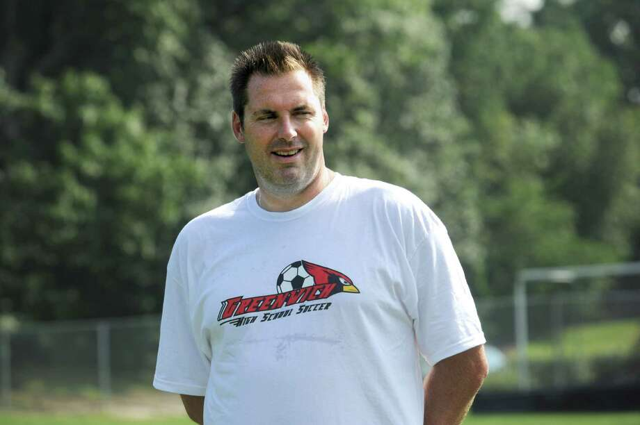 Greenwich High School girls soccer varsity coach Danny Simpson at practice at Western Middle School on Monday, Sept.  12, 2011. Photo: Helen Neafsey / Greenwich Time