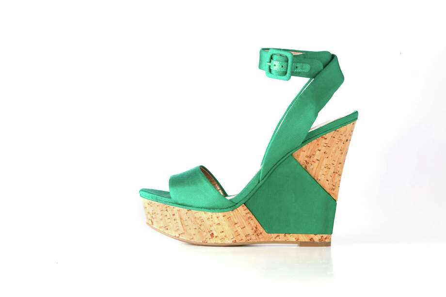 BCBGeneration green wedges, $60, Little Bird Resale Boutique, Post Oak Plaza. Photo: Mayra Beltran / © 2012 Houston Chronicle