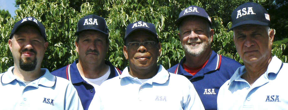 Taking their softball umpiring skills to the national stage are, from left to right, Jason Maxwell of New Milford, Joe Moker of New Milford, Charlie Hicks of New Milford, Steve Kolitz of New Milford and Richie Abramson from Brookfield. July 2012  Courtesy of Steve Kolitz Photo: Contributed Photo